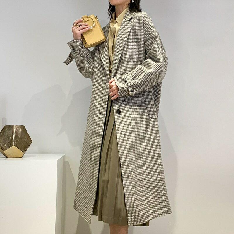 毛呢大衣羊毛外套-長版寬鬆翻領純色女外套4色73wb5【獨家進口】【米蘭精品】 2