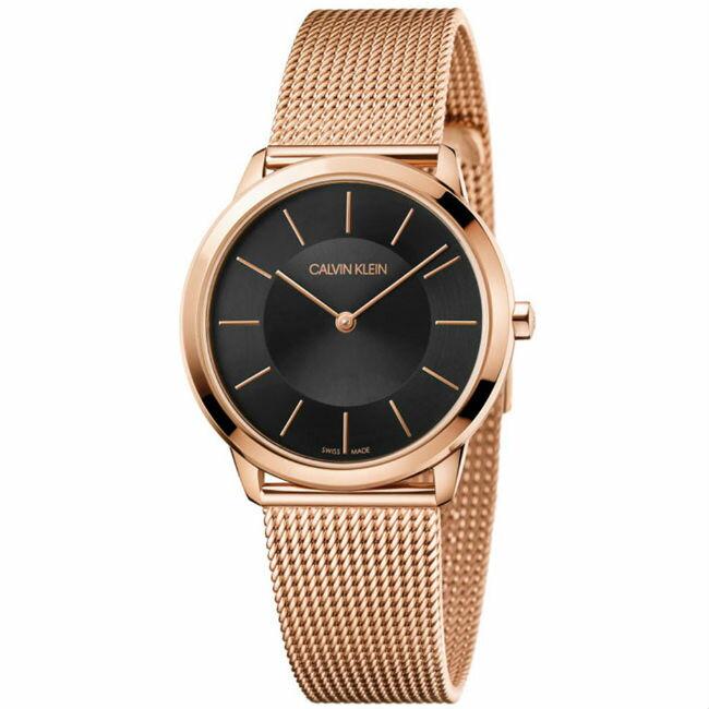 大高雄鐘錶城 CK Calvin klein 卡文克萊 Minimal系列(K3M2262Y)時尚米蘭腕錶/ 黑面35mm