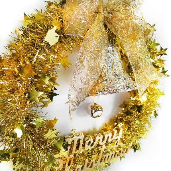 摩達客 純金系金蔥聖誕星星花圈(14吋)(本島免運費)YS-MTW14003