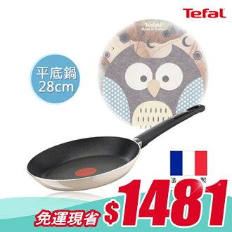 Tefal法國特福 琺瑯彩繪貓頭鷹系列28CM不沾平底鍋
