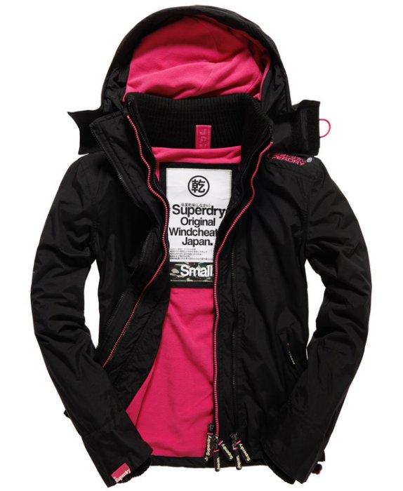 極度乾燥 Superdry Arctic Windcheater 女款 三層拉鍊連帽保暖防風外套 白標黑桃