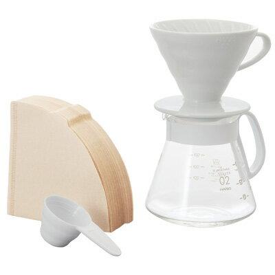 金時代書香咖啡   HARIO V60白色02濾杯咖啡壺組 1-4杯 XVDD-3012W
