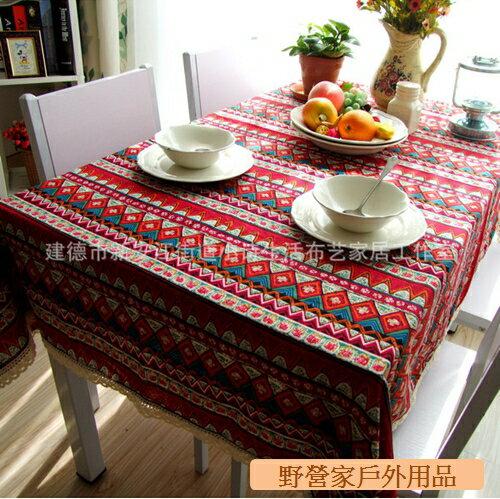 ~野營家~ 波西米亞風格棉麻 民族風 桌巾 140*180cm 紅色 藍色 露營桌 蛋捲桌 可用
