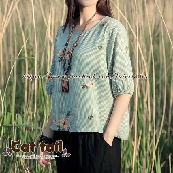 《貓尾巴》CH-01980日系文藝條紋刺繡燈籠袖短袖上衣(森林系日系棉麻文青清新)