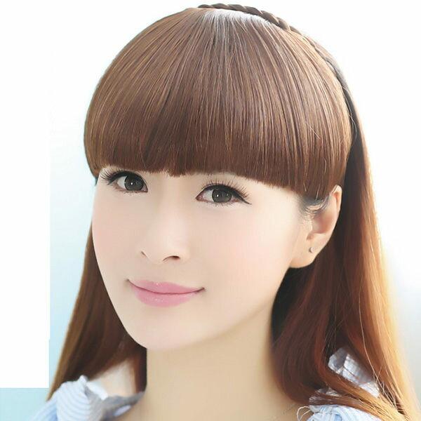 PS Mall 可愛 辮子髮箍斜齊劉海假髮片 仿真髮 高溫髮絲 可燙~P073~