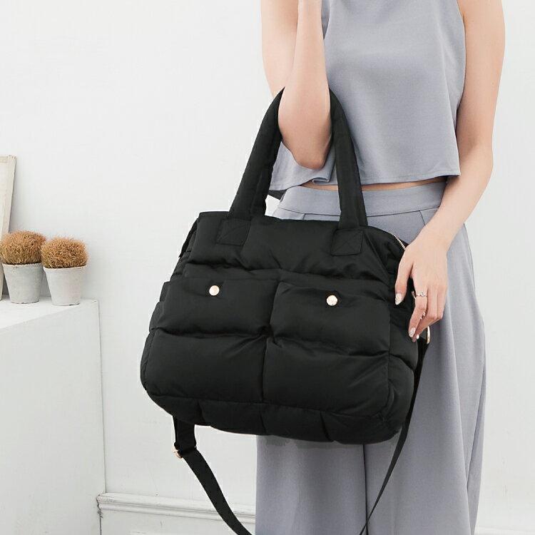 空氣包 側背包 斜背包 兩用素面雙口袋設計媽媽包 女包 89.Alley 1