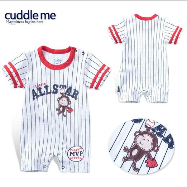 糖衣子輕鬆購【BA0110】韓版休閒運動風包屁衣嬰幼兒卡通短袖連身衣