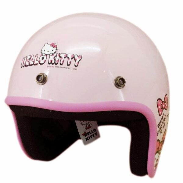 【真愛日本】8011900030 卡通KT系列全罩騎士帽-點點kitty蝴蝶結 三麗鷗 kitty 凱蒂貓 安全帽