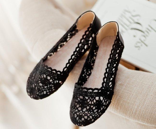 Pyf ♥ 圓頭平底娃娃鞋 經典款編織蕾絲布鞋 43 大尺碼女鞋