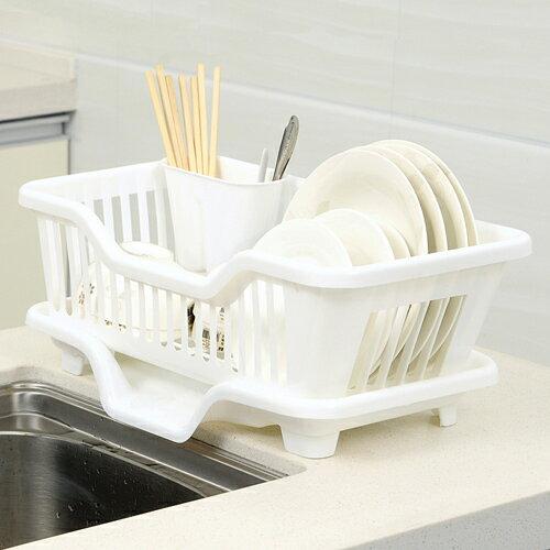 排水式碗盤收納瀝水架(顏色隨機出貨)