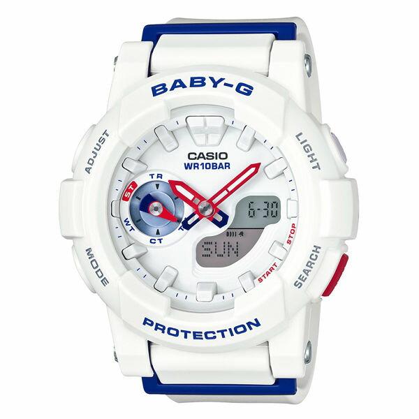 CASIO BABY-G BGA-185TR-7A海軍風雙顯流行腕錶/藍色44mm