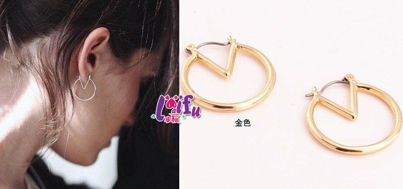 ~草魚妹~H412 小V圈圈耳環嬉皮異國風極簡款耳環,售價129元