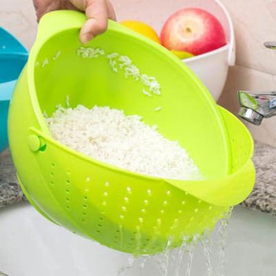 【多功能瀝水籃-26*21cm-2只裝/套-1套/組】蔬果瀝水籃淘米籃塑膠洗菜藍-7201001