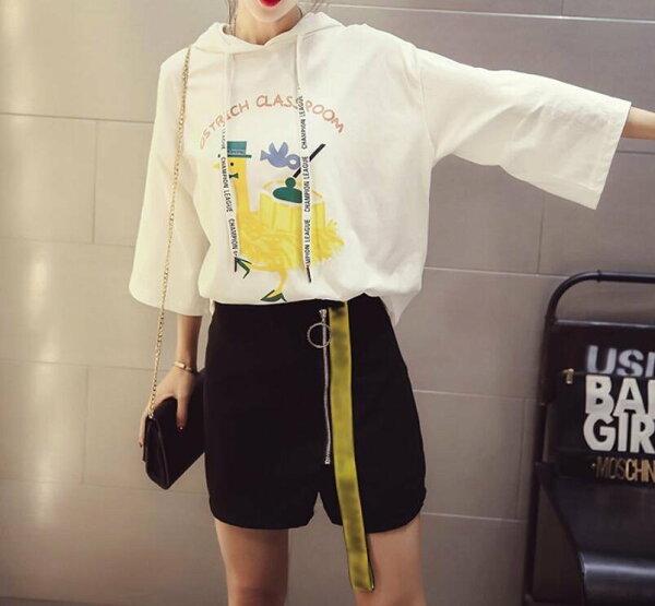 FINDSENSEMD韓國時尚女潮中長款寬鬆卡通圖案印花連帽短袖T恤學生短T