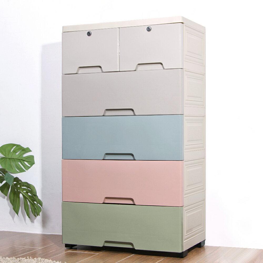 Mr.box【024094-03】58大面寬-馬卡龍五層抽屜式收納櫃-附鎖附輪