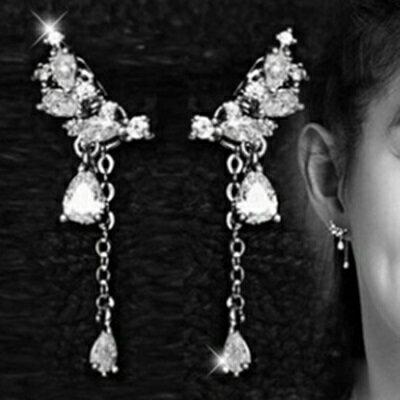 925純銀耳環鑲鑽耳飾~ 潮流氣質水滴情人節生日 女飾品73du5~ ~~米蘭 ~