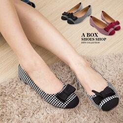 【AA716】MIT台灣製 可愛蝴蝶結格紋撞色 質感絨布 圓頭平底包鞋 娃娃鞋 懶人鞋 2色