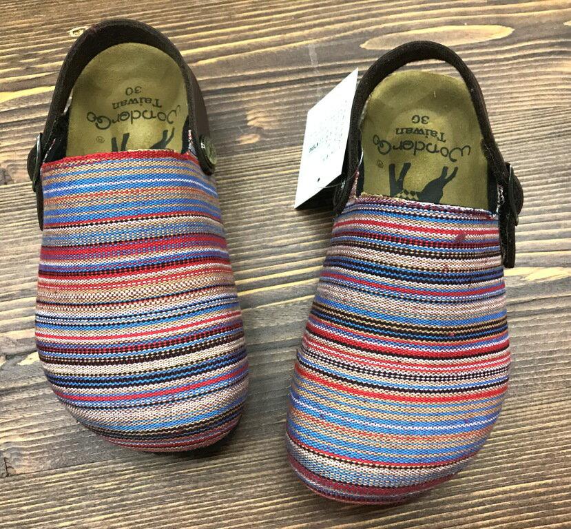 【巷子屋】童款織布牛皮兩穿式包趾勃肯涼鞋/拖鞋 台灣製造 [C1559] 紅 超值價$200