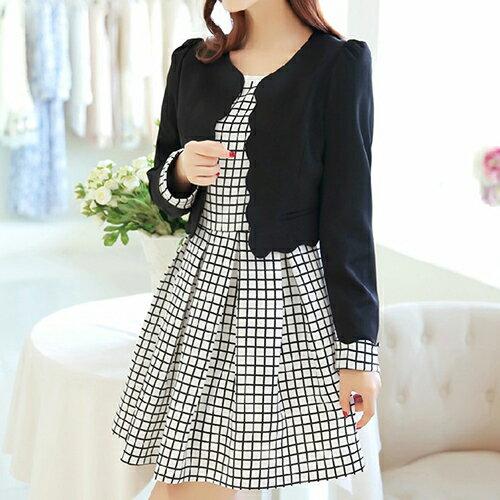 秋裝兩件套韓版修身氣質格子連身裙小西裝外套(2色M~2L) 【OREAD】 0