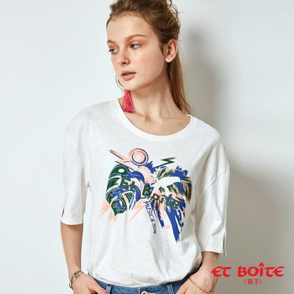 【春夏新品】夏日音樂派對印花開衩袖T恤(白)-BLUEWAYETBOiTE箱子