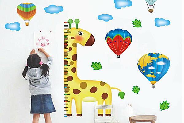 BO雜貨【YP1446】可移動壁貼 DIY牆貼 身高尺壁貼 兒童壁貼 兒童房設計 長頸鹿身高尺