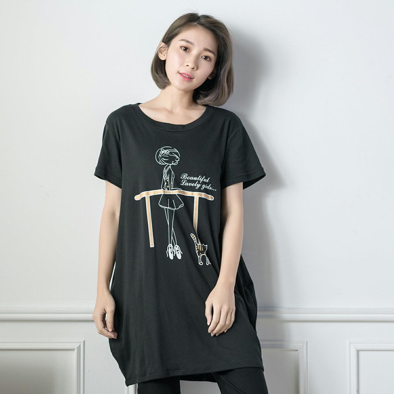 長版上衣--芭蕾女孩與小貓可愛印圖棉質舒適長版T恤(黑.灰XL-5L)-D281眼圈熊中大尺碼 1