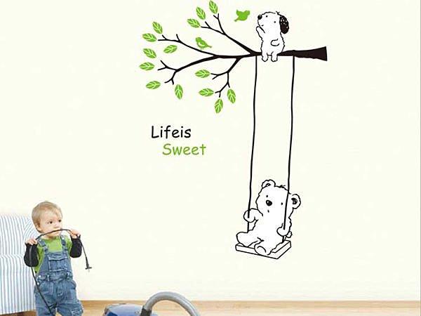 BO雜貨【YV2917】大型可重複貼 壁貼 兒童卡通壁貼 壁紙貼 兒童房設計 小熊鞦韆