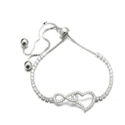 925純銀手鍊 鑲鑽手環 ~ 簡約百搭情人節生日 女飾品73dl65~ ~~米蘭 ~