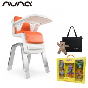 【贈快樂寶貝禮盒+收納袋+玩偶(隨機)】荷蘭【Nuna】ZAAZ 高腳椅(橘色) 0