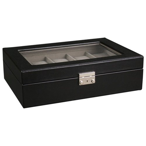 Kendal Watch Case Display Box With Clear Top Holds 10 Watches lock w/ key 1