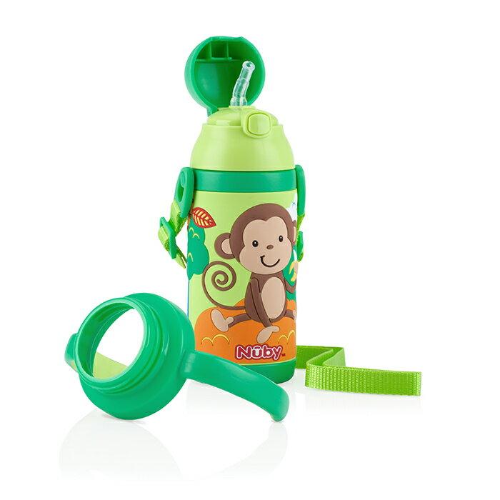 Nuby ~ 3D超輕量不銹鋼真空學習杯 385ml 猴