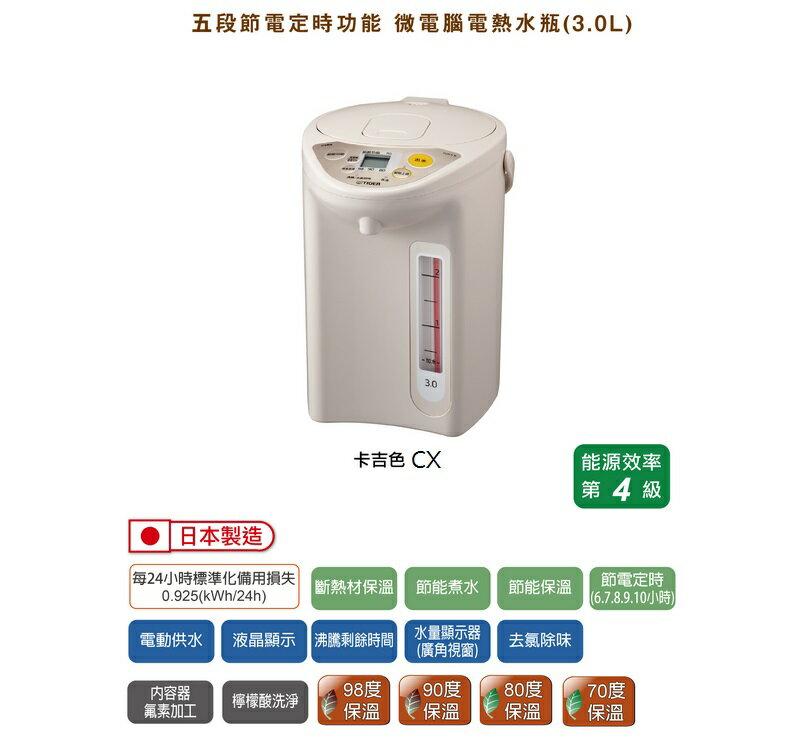 【虎牌】微電腦電熱水瓶 - 3.0L PDR-S30R