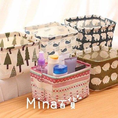 (mina百貨) 日系【桌上置物盒】 棉麻帶提手 雜物收納盒 櫥櫃小衣物收納籃 化妝保養品收納盒 F0059