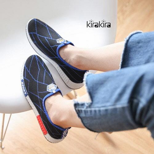 休閒鞋~POLO幾何線條休閒懶人鞋~