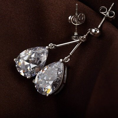 ~925純銀耳環鑲鑽耳飾~ 簡約水滴母親節生日情人節 女飾品2色73gt170~ ~~米蘭