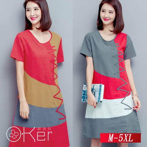 民族風寬鬆短袖拼接棉麻連衣裙M-5XLO-Ker歐珂兒139077-C