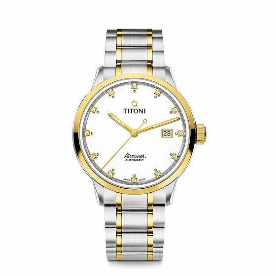 TITONI瑞士梅花錶空中霸王系列83733SY-556單鑽機械腕錶金銀40mm