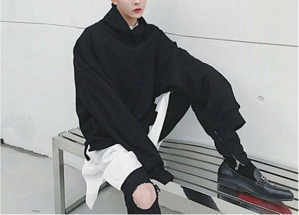 FINDSENSE品牌歐美高街男士後領拉鏈裝飾套頭百搭衛衣