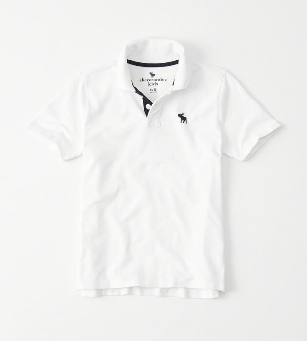 <br/><br/>  美國百分百【Abercrombie & Fitch】Polo衫 AF 短袖 麋鹿 男 素面 白色 情侶裝 XS S號  H948<br/><br/>