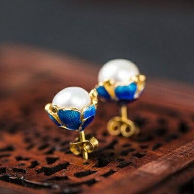 純銀鍍14K耳環珍珠耳針~大方柔美簡潔耀眼母親節情人節生日 女飾品73hl4~ ~~米蘭