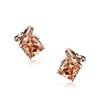 ~玫瑰金耳環925純銀水晶耳飾~ 簡約高貴氣質生日情人節 女飾品3色73gs223~ ~~