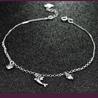 ~925純銀腳鍊銀飾~甜美氣質可愛海豚生日情人節 女飾品73ib26~ ~~米蘭 ~