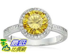 [美國直購] Rhodium Plated Sterling Silver Round Yellow Cubic Zirconia 8mm and White Cubic Zirconia Halo ..