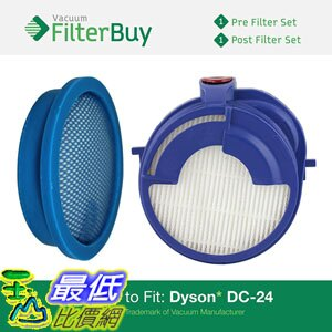 [106美國直購] 濾網 Dyson DC24 (DC-24) Pre Post Motor Replacement Filter Kit Part913788-01 915928-01 Designed by FilterBuy