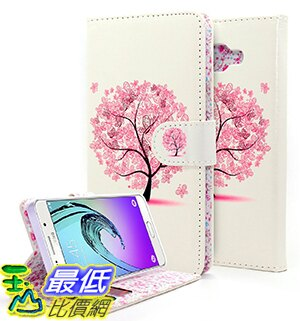 [106美國直購] Galaxy A7 2016 Case, Premium PU Leather Flip Fold Wallet Case - Wallet Butterfly Tree 手機 保護套