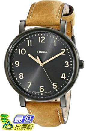 [105美國直購] Timex Unisex T2N677AB Originals Black Watch with Tan Leather Band