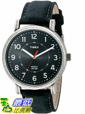 [105美國直購] Timex Unisex T2P219AB Originals Silver-Tone Watch with Black Leather Band