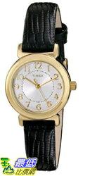[105美國直購] Timex WoMens 女士手錶 T2P4309J Main Street Modern Minis Gold-Tone Watch with Black Genuine Leather Band