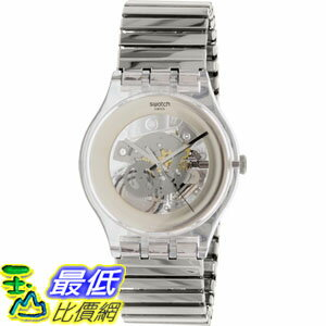 [105美國直購] Swatch Men's 男士手錶 Originals SUOK105FB Silver Stainless-Steel Swiss Quartz Watch