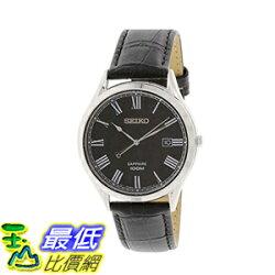 [美國直購] 男士手錶 Seiko Black Dial Black Leather Mens Watch SGEG99